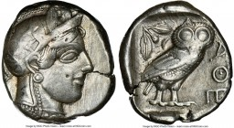 ATTICA. Athens. Ca. 440-404 BC. AR tetradrachm (24mm, 17.13 gm, 1h). NGC VF 4/5 - 3/5. Mid-mass coinage issue. Head of Athena right, wearing crested A...