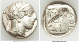 ATTICA. Athens. Ca. 440-404 BC. AR tetradrachm (24mm, 17.19 gm, 1h). AU. Mid-mass coinage issue. Head of Athena right, wearing crested Attic helmet or...