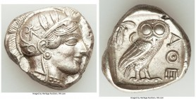 ATTICA. Athens. Ca. 440-404 BC. AR tetradrachm (26mm, 17.20 gm, 7h). AU. Mid-mass coinage issue. Head of Athena right, wearing crested Attic helmet or...