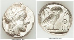 ATTICA. Athens. Ca. 440-404 BC. AR tetradrachm (24mm, 17.20 gm, 8h). AU, marks. Mid-mass coinage issue. Head of Athena right, wearing crested Attic he...