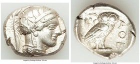 ATTICA. Athens. Ca. 440-404 BC. AR tetradrachm (25mm, 17.18 gm, 11h). AU, marks. Mid-mass coinage issue. Head of Athena right, wearing crested Attic h...