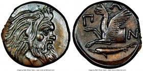 CIMMERIAN BOSPORUS. Panticapaeum. 4th century BC. AE (21mm, 12h). NGC Choice XF. Head of bearded Pan right / Π-A-N, forepart of griffin left, sturgeon...