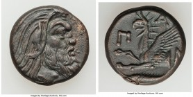 CIMMERIAN BOSPORUS. Panticapaeum. 4th century BC. AE (19mm, 6.51 gm, 12h). XF. Head of bearded Pan right / Π-A-N, forepart of griffin left, sturgeon l...