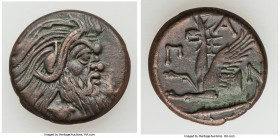 CIMMERIAN BOSPORUS. Panticapaeum. 4th century BC. AE (21mm, 6.62 gm, 11h). VF. Head of bearded Pan right / Π-A-N, forepart of griffin left, sturgeon l...