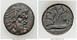 CIMMERIAN BOSPORUS. Panticapaeum. 4th century BC. AE (21mm, 7.56 gm, 11h). VF. Head of bearded Pan right / Π-A-N, forepart of griffin left, sturgeon l...
