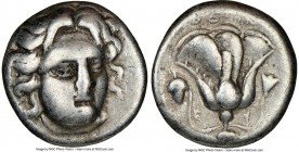 CARIAN ISLANDS. Rhodes. Ca. 305-275 BC. AR didrachm (19mm, 12h). NGC VG. Head of Helios facing, turned slightly right, hair parted in center and swept...