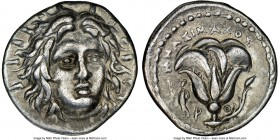 CARIAN ISLANDS. Rhodes. Ca. 250-230 BC. AR didrachm (21mm, 12h). NGC XF. Mnasimaxus, magistrate. Radiate head of Helios facing, turned slightly right,...