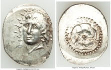 CARIAN ISLANDS. Rhodes. Ca. 84-30 BC. AR drachm (24mm, 4.29 gm, 5h). AU. Radiate head of Helios facing, turned slightly left, hair parted in center an...
