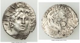 CARIAN ISLANDS. Rhodes. Ca. 84-30 BC. AR drachm (22mm, 4.19 gm, 12h). AU, scuffs. Radiate head of Helios facing, turned slightly left, hair parted in ...