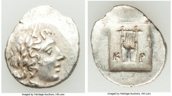 LYCIAN LEAGUE. Cragus. Ca. 48-20 BC. AR hemidrachm (17mm, 2.10 gm, 12h). XF. Series 1. Laureate head of Apollo right; Λ-Y below / K-P, cithara (lyre);...