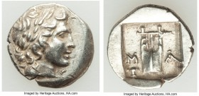LYCIAN LEAGUE. Masicytes. Ca. 48-20 BC. AR hemidrachm (14mm, 2.08 gm, 11h). AU. Series 1. Laureate head of Apollo right; Λ-Y below / M-A, cithara (lyr...