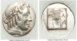 LYCIAN LEAGUE. Masicytes. Ca. 48-20 BC. AR hemidrachm (16mm, 1.97 gm, 12h). AU. Series 2. Laureate head of Apollo right, wearing taenia; Λ-Y below / M...