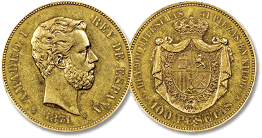 Lot 791. Amedeo I 1871-1873, 100 Pesetas, Madrid, 1871.