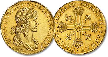 Lot 657. Royaume de France, Louis XIII, 1610-1643. 10 Louis d'or au buste drapé 1640 A, Paris.