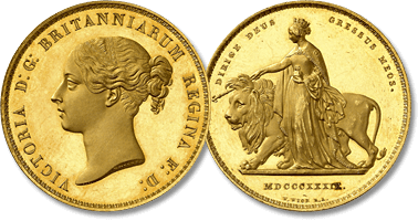 "Lot 725. Victoria, 1837-1901. 5 Souverains 1839 ""Una and the Lion"",Londres. FRAPPE sur FLAN BRUNI."